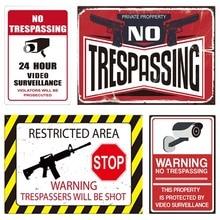 Advertencia de vigilancia cartel metálico monitoreo de advertencia carteles de estaño cartel etiquetas de advertencia de seguridad cámara de vídeo adhesivo de alarma marca