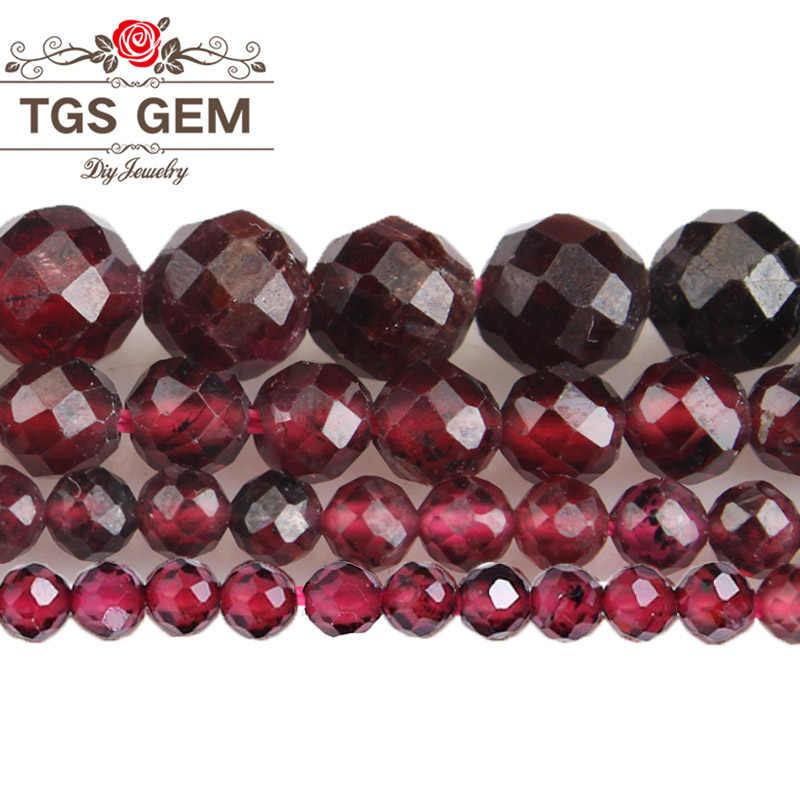 טבעי אבן פיאות לחתוך יקרה הניצוץ גרנט קטן עגול חרוזים 2/3/4/5MM Diy צמיד שרשרת עגיל להכנת תכשיטים
