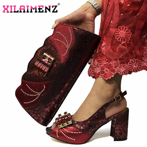 Image 3 - Magenta Color New Design Italian Women Shoes and Bag Set African Matching Shoes and Bag Slingbagck Sandals for Royal Party