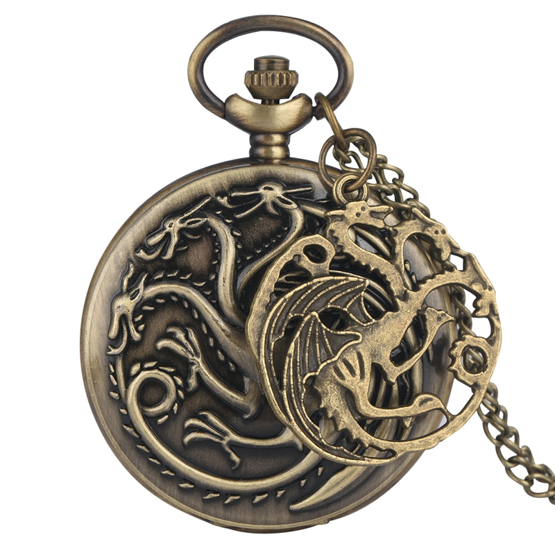 Retro Family Crests House Targaryen Dragon Necklace Game Of Thrones Theme Quartz Pocket Watch Pendant Chain Watch With Accessor