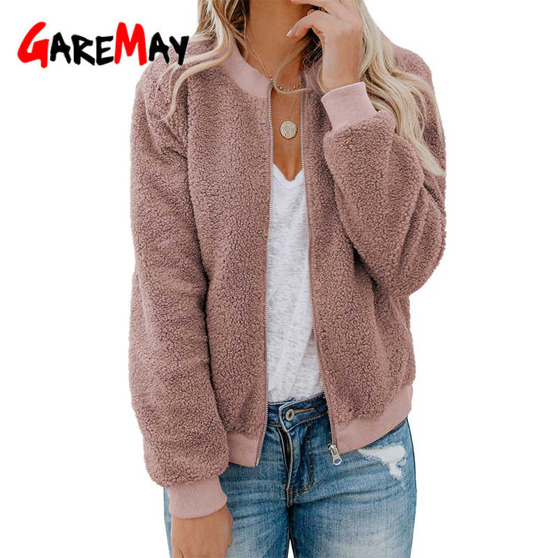 Women Winter Faux Fur Coat Thick Warm Jacket Coat Fluffy Fleece Sweatshirt Zipper Outerwear Oversized Imitation Fur Coat Female