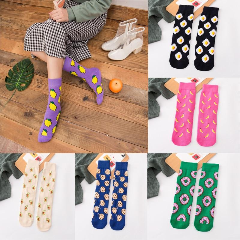 Women's Funny Print Socks Cute Cartoon Fruits Banana Avocado Lemon Egg Cotton Socks Cotton Casual Green White Purple Socks Hot