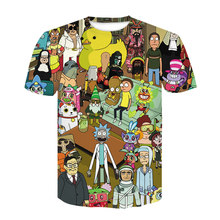 Hip Hop marque de mode vêtements Rick et Morty 3D t-shirt décontracté à manches courtes hommes T-Shirts Anime Cool rick morty impression T-Shirts(China)
