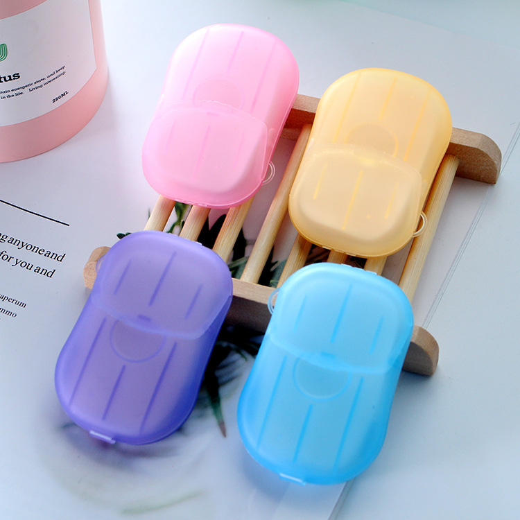 200sets Mini Paper Soap Outdoor Travel Soap Paper Washing Hand Bath Clean Scented Slice Sheets Disposable Box Soap