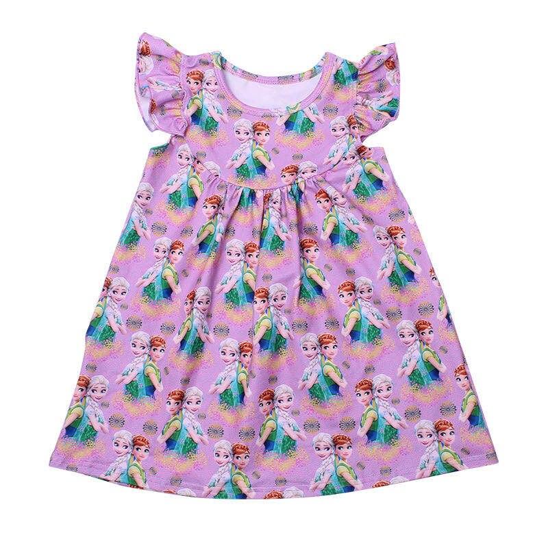 Anna Elsa Girls Summer Tops Boutique Milk Silk Flutter Sleeve Baby Girls Shirts Princess Pattern Print Tshirts For Girls Clothes
