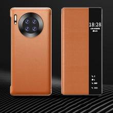 Luxus Leder Smart View Flip Fall Für Huawei Mate 40 Pro Mate40 Mate40pro 40pro 5G Globale Version Magnetische Telefon abdeckung