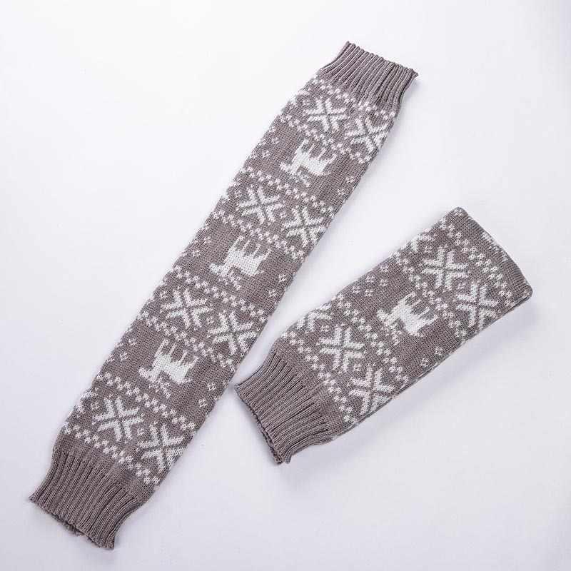 Mooirue chaussettes hautes femmes automne hiver noël cerf imprimer Vintage chaud Streetwear rouge gris basique femmes longues chaussettes de tricotage