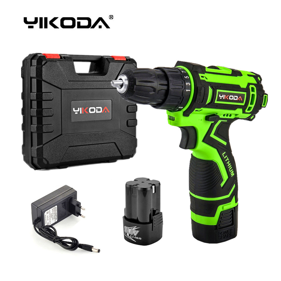 YIKODA 16.8V Electric Screwdriver Two speed Lithium Battery Cordless Screwdriver Rechargeable DIY Electric Drill Power Tools