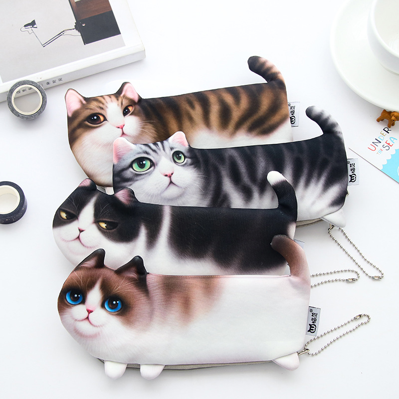 2020 NEW Kawaii Novelty Simulation Cartoon Cat Pencil Case Soft Cloth School Stationery Pen Bag Gift For Girl Boy Student