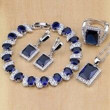 925 ayar gümüş takı mavi zirkon beyaz CZ takı setleri kadınlar için küpe/kolye/kolye/yüzük/bilezik
