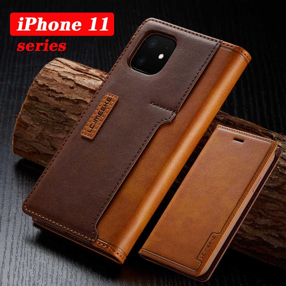 Custodie in pelle Per il iPhone di Apple 11 Pro X XR XS MAX ProMAX 8 7 6 6S Plus di Colore di Contrasto vibrazione Fundas Caso Custodia In Pelle Magnetica
