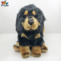 Lifelike Tibetan Mastiff Black Dog Puppy Plush Toy Triver Stuffed Animals Doll Baby Kids Boy Birthday Gift Home Shop Decorations