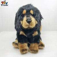 Lifelike Tibetan Mastiff Black Dog Puppy Plush Toy Triver Stuffed Animals Doll Baby Kids Boy Birthday Gift Home Shop Decorations