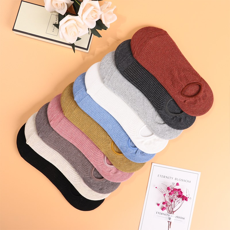 Invisible Short Woman Sweat Summer Comfortable Cotton Bamboo Girl Women's Boat Socks Ankle Low Female Invisible Cotton 5 Pairs