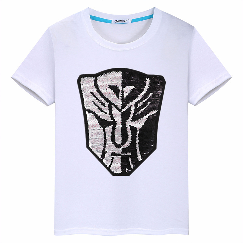 Cartoon Transformers Sequin Double-Sided Flipping CHILDREN'S Short-sleeved T-shirt 2019 New Products Summer Boy Clothing