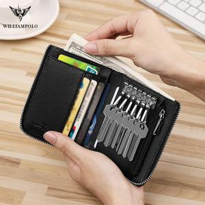 Image 4 - WILLIAMPOLO Men key wallet holder leather car zipper key wallet Anti theft wrist strap Multi function wallet new Coin Purse 2019