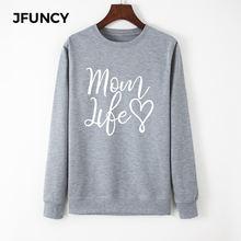 Худи jfuncy женское оверсайз с круглым вырезом пуловер длинным