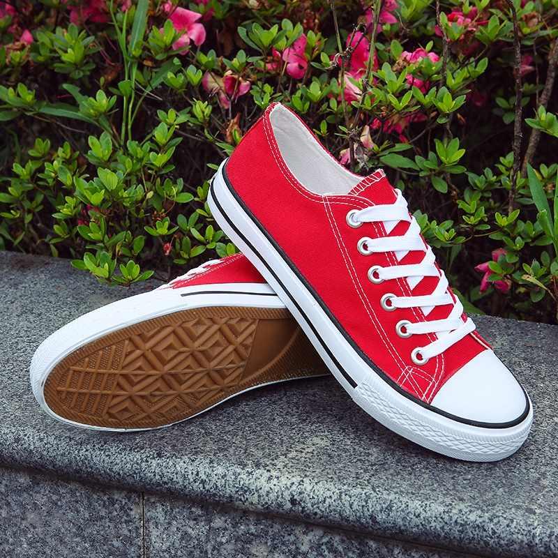 Moda gençlik erkek ayakkabı rahat Unisex beyaz spor ayakkabı nefes yürüyüş kanvas ayakkabılar erkekler kadınlar kırmızı dantel Up Flats