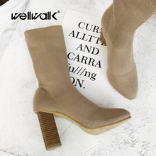 Slim Sock Boots Women Winter Shoes Chunky High Heels Ladies Ankle Booties Stretch Knitted Pointed Toe Solid Color Short Boots tinghon women ankle boots stretch fabric sock boots chunky high heels stretch women autumn winter sexy booties pointed toe boot