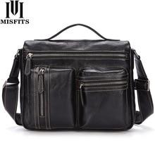 MISFITS Cowhide Leather Mens Shoulder Bags Messenger High Quality Soft Genuine Travel Crossbody Male Handbag