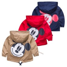 Boys And Girls Coat Spring And Autumn New Fashion Cartoon Image Kids Hooded Windbreaker Infant Child Jacket