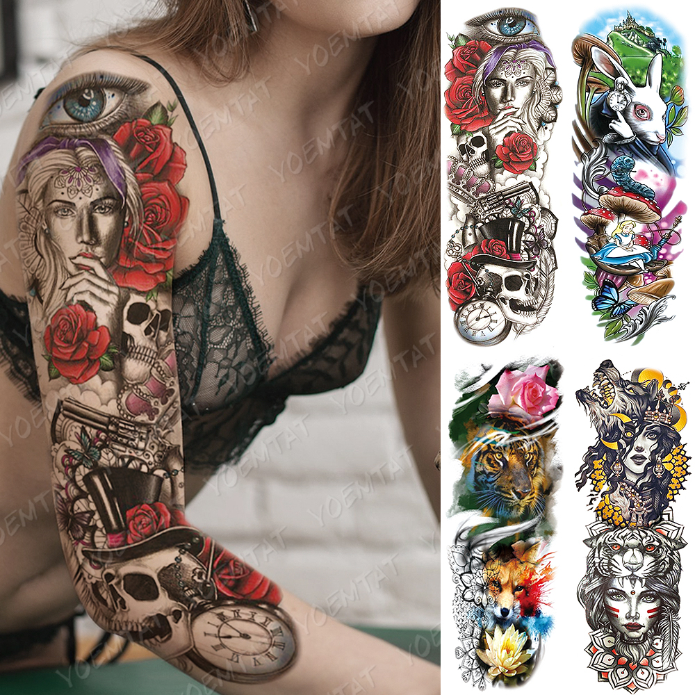 Large Arm Sleeve Tattoo Alice In Wonderland Waterproof Temporary Tatto Sticker Wolf Rose Body Art Full Fake Tatoo Women Men