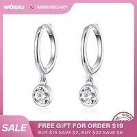 WOSTU authentique 925 en argent Sterling éblouissant zircone boucles d'oreilles pour les femmes de mariage Simple boucles d'oreilles de luxe bijoux CQE830