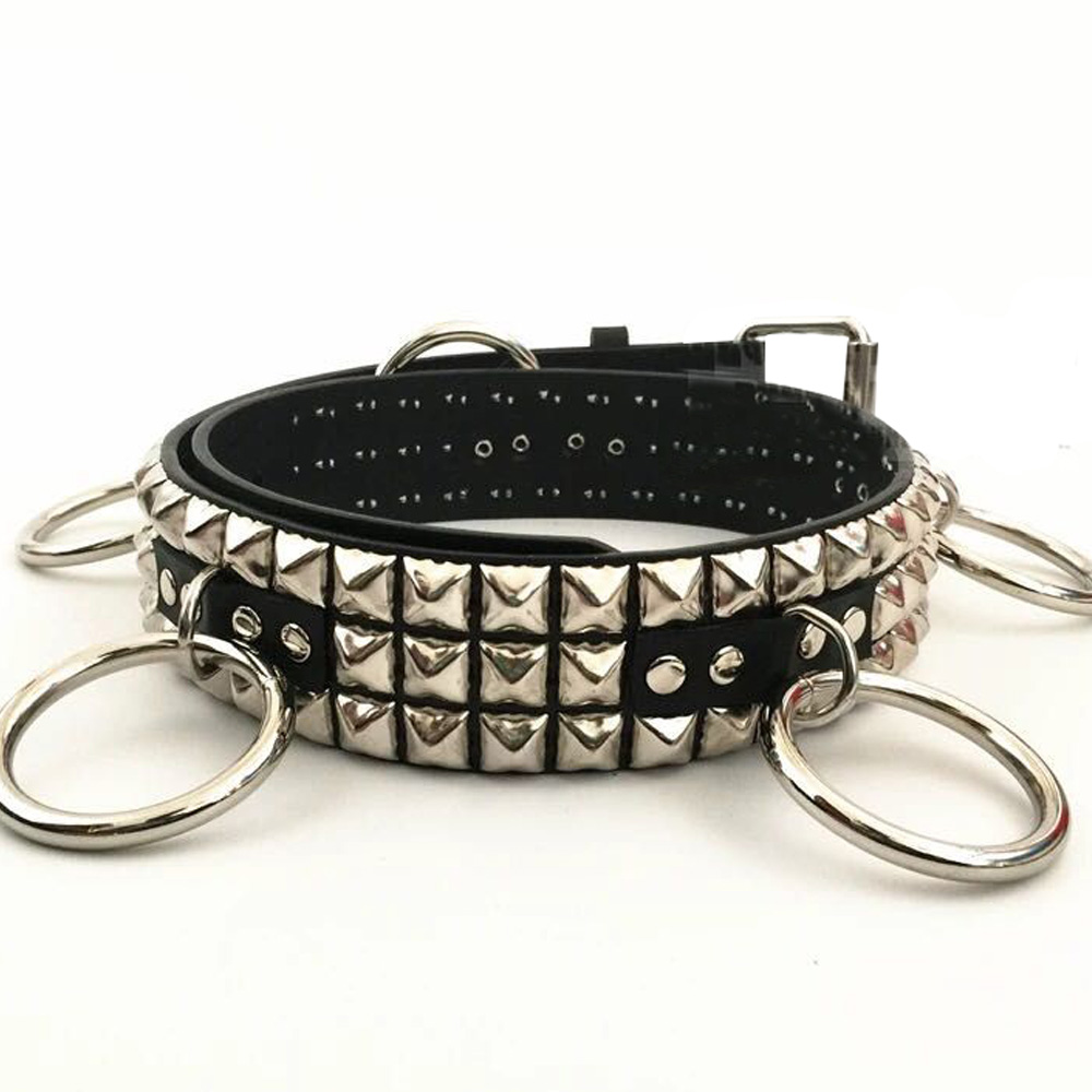 Rock Band Music Performance Punk Pyramid Studded Metal Ring Circle Attached Goths Leather Belt