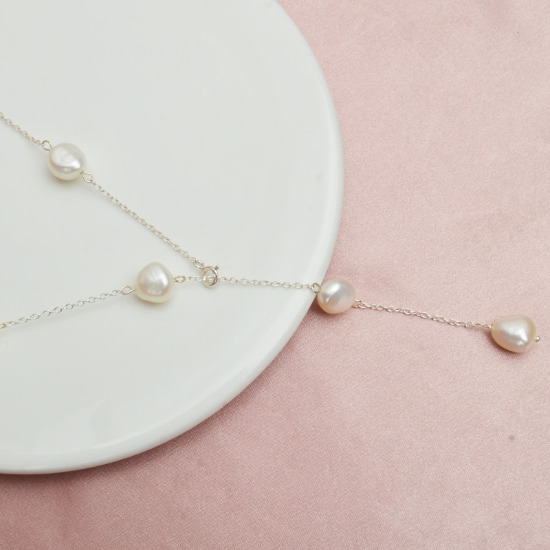 H794604ad734d43508d813675b60e4213m ASHIQI 2019 Real 925 Sterling Silver Long Chain Necklace 9-10mm Natural Baroque Freahwater Pearl Jewelry for Women Ladies Gift
