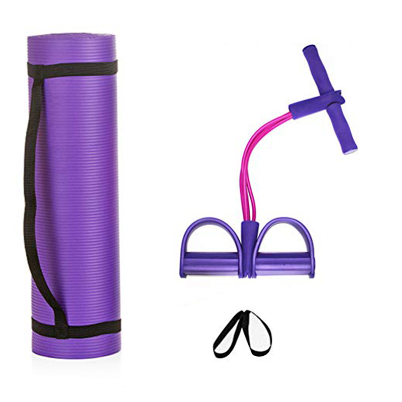 Fitness Yoga Sports Suit Yoga Mat Sit-ups Tensioner Two-piece Yoga Auxiliary Supplies  Elastic Pull Ropesstrap Net Bag