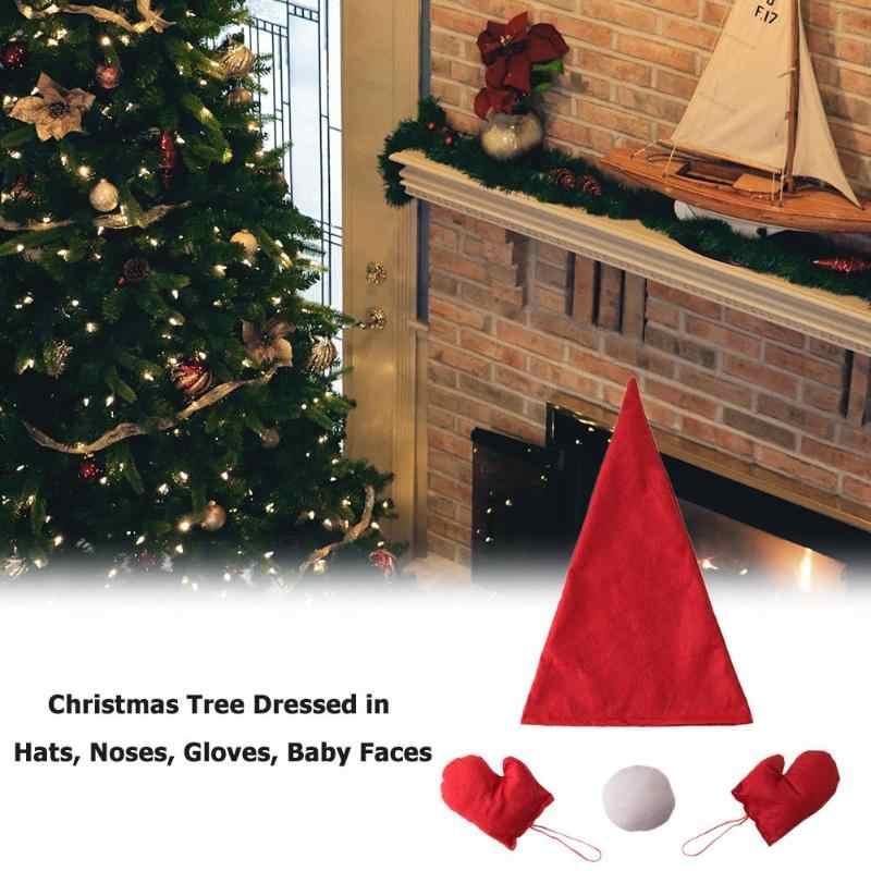 شجرة عيد الميلاد فستان متابعة دعوى القماش الفن الحلي قبعة الأنف قفازات المنزل حفلة السنة الجديدة مهرجان اكسسوارات الديكور