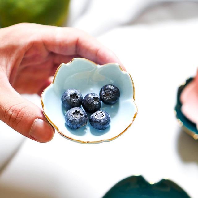 Creative Japanese Sakura Ceramic Dish Cherry Blossom Kawaii Plate Sauce Dish Flower Bowl for Kitchen Sauce Vinegar Dishes 2