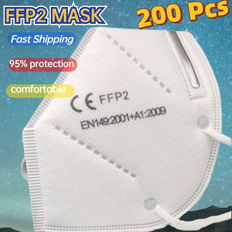 200 FFP2 Funda Mascarillas Filters Masks Ffpp2 Protective Face Mask kn95 Mouth Masken Fp2 Reusable R