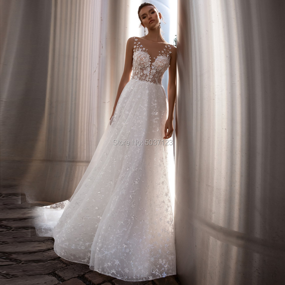 Sleeveless Tulle Wedding Dresses A Line V Neck Wedding Bridal Gowns Vestido De Noiva Button Illusion Court Train