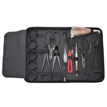16 Pcs Bonsai Tools Set Multi-Function Bonsai Carbon Steel Shear Set and Tool Kit /Roll Wires