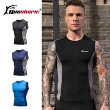 Shirt Running-Vest Sleeveless QUESHARK Fitness Workout Outdoor Mesh Men Tees Tops Printed