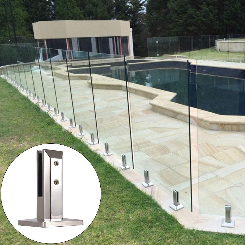 Stainless Steel Glass Pool Fence Clip For Swimming Pools Balcony Garden Deck Ground Handrail Accessories in Pool Accessories from Sports Entertainment