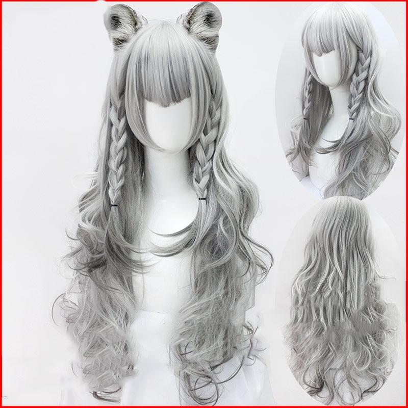 Arknights Cosplay Wig Silver Gray Highlights Gradually Change Color M Bangs Anti-warping Large Wave High-temperature Fiber
