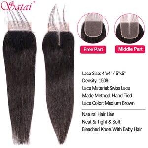 Image 3 - Satai Straight Hair Bundles With Closure Brazilian Hair Weave Bundles 8 38 Inch Human Hair Bundles With Closure Hair Extension