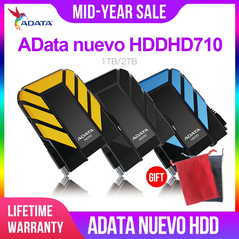 AData New External HDD 1TB 2TB HD710 Pro USB3.1 2.5-inch Portable Hard Drive Military Standard Shockproof IEC Dustproof