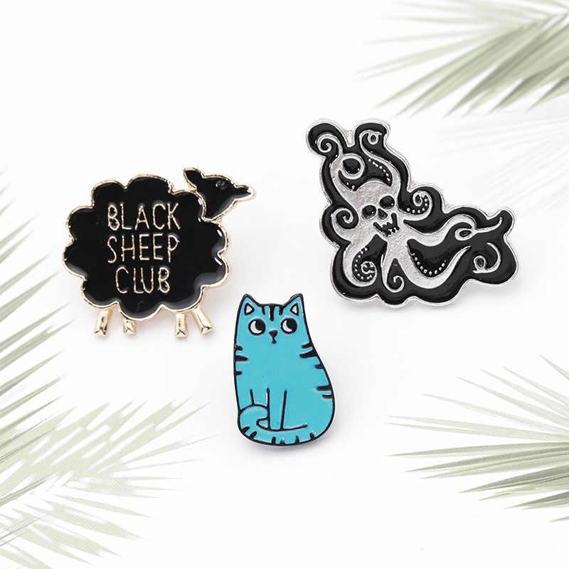 Cartoon Katze Wenig Schafe Octopus Brosche für Frauen Nette Tier Abzeichen Emaille Pin Hijab Pins Denim Jacken Rucksack Schmuck