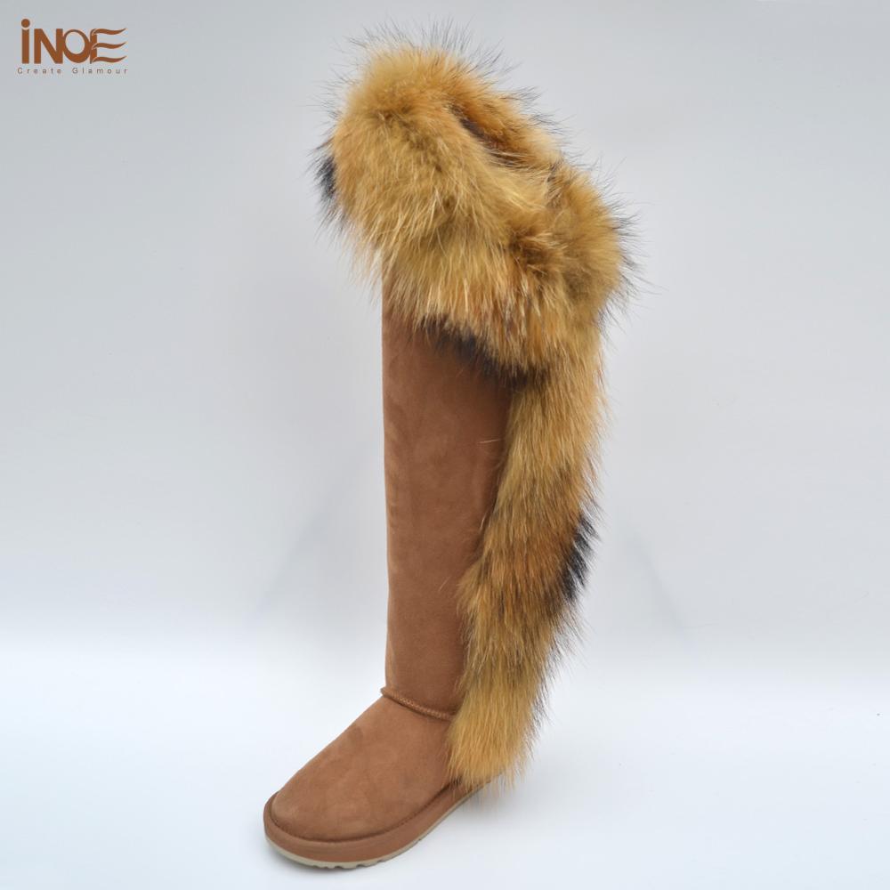 Botas de invierno de piel de zorro por encima de la rodilla para mujer botas largas de piel de oveja forrada de piel para mujer botas altas de nieve para mantener los zapatos calientes