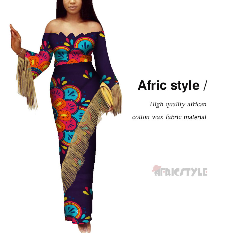 Afric Style 100% Wax Fabric Women Bell Bottom Dashiki Print African Style Casual Clubwear Party Long Dress WY5359