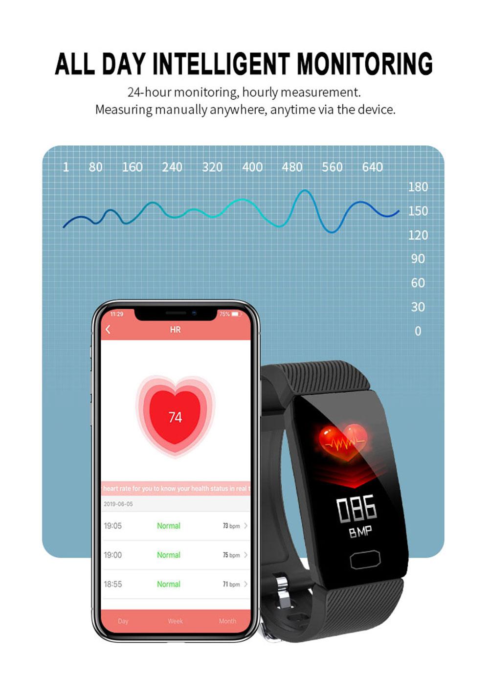 H79470fb47c79433a9d748525a3bdedd8L Fitness Bracelet Blood Pressure 1.14'' Screen Fitness Tracker Smart Watch Waterproof Smart Wristband Weather Display Women Men