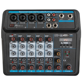 M-6 Portable Mini Mixer Audio DJ Console with Sound Card, USB, 48V Phantom Power for PC Recording Singing Webcast Party(US Plug)