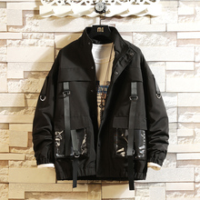 Men Military Bomber Jacket New Autumn Streetwear Fashion Coat Ribbons