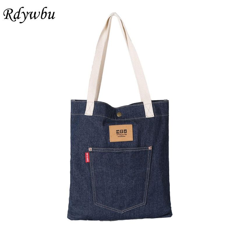 Women Denim Tote Handbag With Pocket  Eco Reusable Foldable Shopping Bag Female Large Blue Jeans Shoulder Bag Bolsa B815