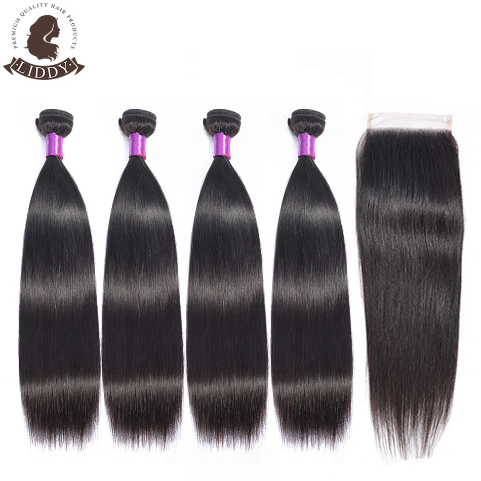 Liddy Brazilian Hair Staright Wave 4 Bundles With Closure 100% Human Hair Bundles With Closure Non Remy Hair Extensions