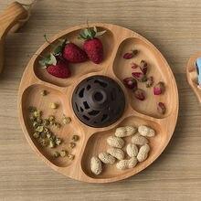 Тарелка из цельного дерева в японском стиле деревянный отсек