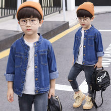 Boys Jackets 2019 New Fashion Denim Solid Mandarin Collar Outwear Childrens Casual Coat Handsome Kids Top 4-13Y Students